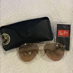 Authentic Brown/Gold Ray-Ban Aviators